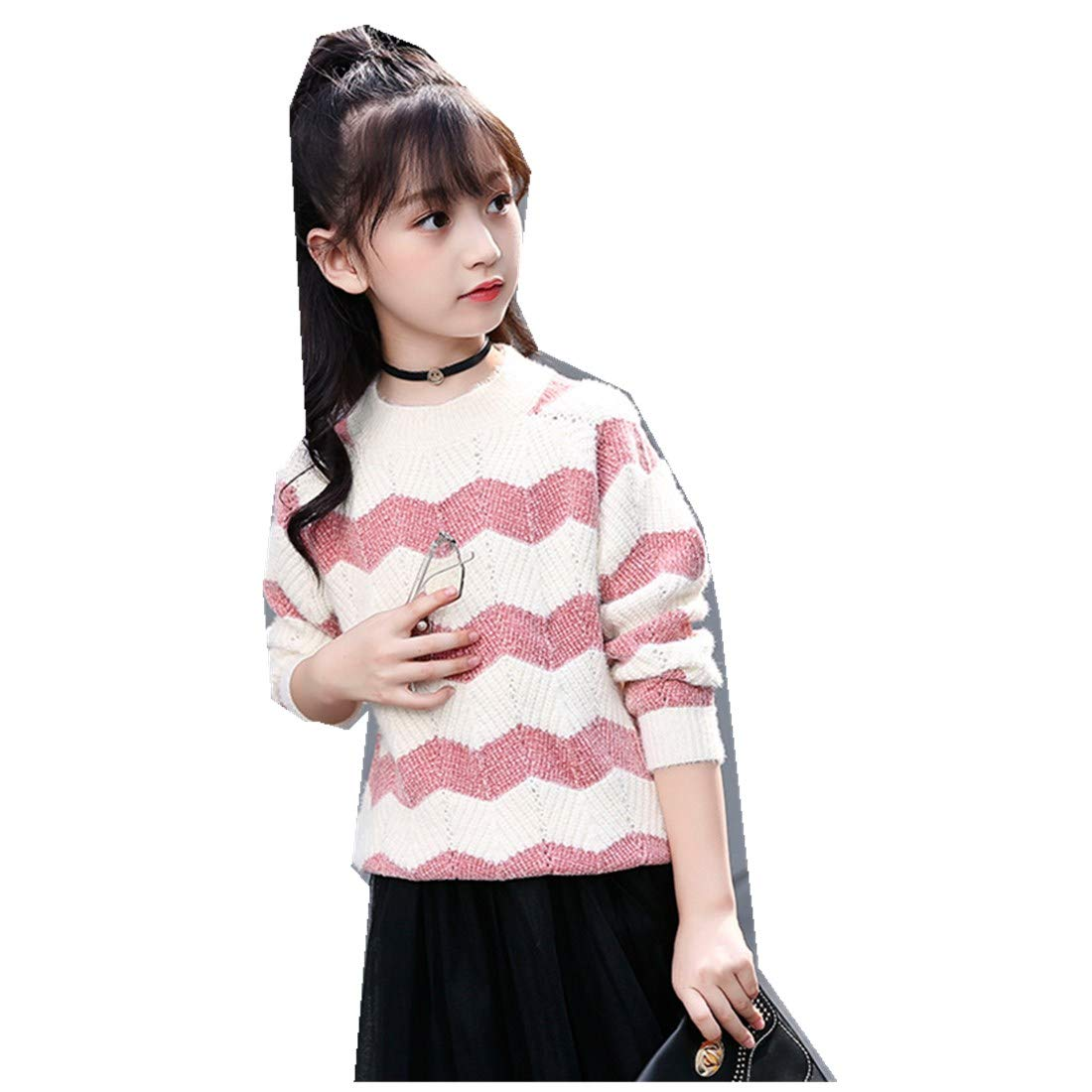 Autumn Boys Girls Sweater Imitation Hair Thickening Plush Sweater Sports Striped