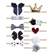 Belle Beau Baby Girls Headbands, Nylon Hair Bow Headbands for for Baby(D)