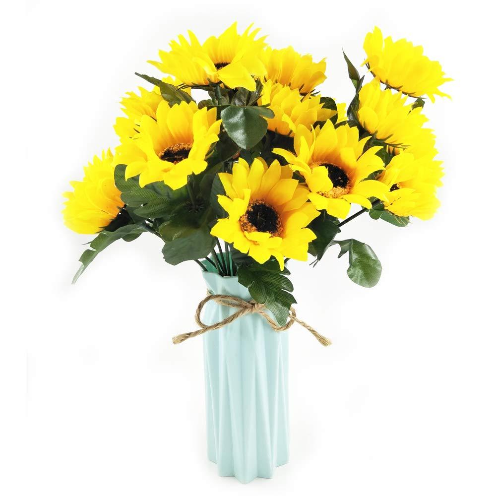 Nadalan 造花 アレンジメント 花瓶付き バラの造花 シルク製 プラスチックフラワー ホームデコレーション デスク ガーデンパーティー ウェディングデコレーション イエロー B07GZH83FT サンフラワー