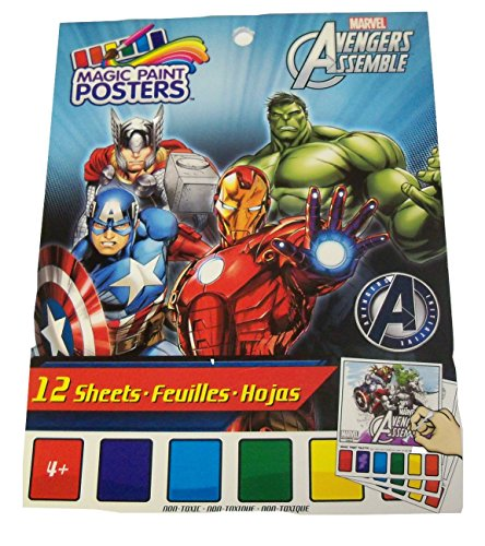 "Marvel Avengers Assemble Savvi Magic Paint Posters ~ Heroes in Action! (12 Posters, 6"" x 8"")"