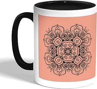 كوب سيراميك للقهوة بتصميم رسوم زخرفية - وردة، اسود