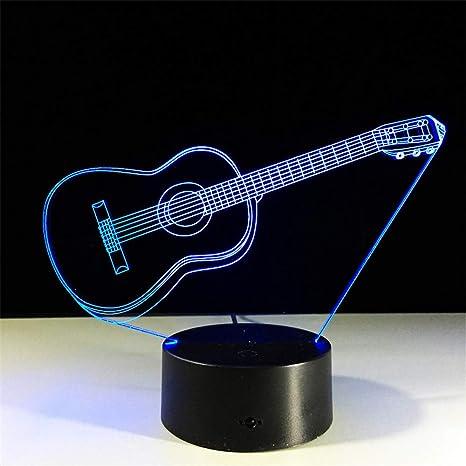 Guitarra Con Llavero Acrílico 3D Luz de Noche Bebé 7 Color Chang USB ...