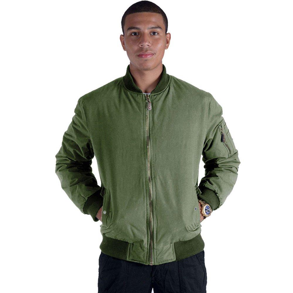 Black Army Military Padded Bomber Jacket Men Plus Size Navy Olive Green Flight Winter Windbreaker Coat (Medium, Olive) by Facitisu