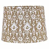 Home Collection by Raghu 6D480005 Cream & White Ikat Washer Drum Lampshade, 16''