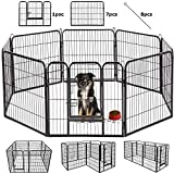 Image of BestPet Outdoor/indoor 40 Inches Metal Dog Pen Dog Fence Playpen Extra Large Exercise Pen Dog Crate Cage Kennel Black