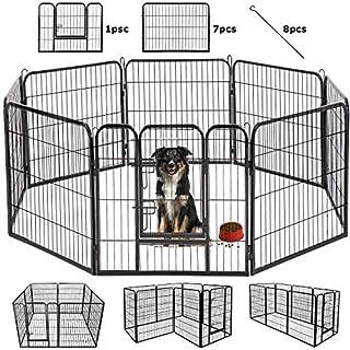BestPet Outdoor/Indoor 40 Inches Metal Dog Pen Dog Fence Playpen Extra Large Exercise Pen Dog Crate Cage Kennel Black