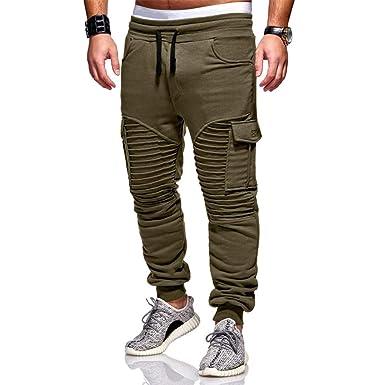 da6db3e8255 Leoie Men Twill Jogger Pants Big Pocket Elastic Drawstring Casual Trousers  Slim Fit Plus Size Pants