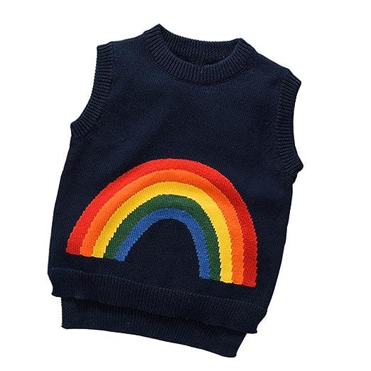 6195e6962 Amazon.com  Coerni Baby Kids Cute Rainbow Knitted Vest Sweater  Clothing