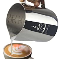 kimking 350ml Jarra de leche jarra de leche para cappuccino (acero inoxidable Café Latte Art bilance de medición de dos lados
