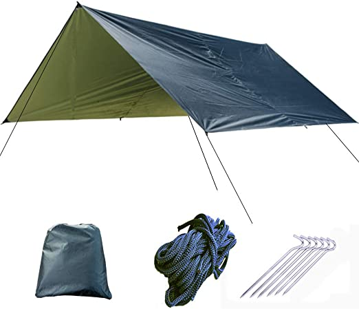 UEWKJGKR Hamaca Plata Revestimiento Impermeable Hamaca Toldo Toldo Canopy Tent Tarp Beach Camping Portátil Pergola Sombrilla Al Aire Libre Negro: Amazon.es: Jardín