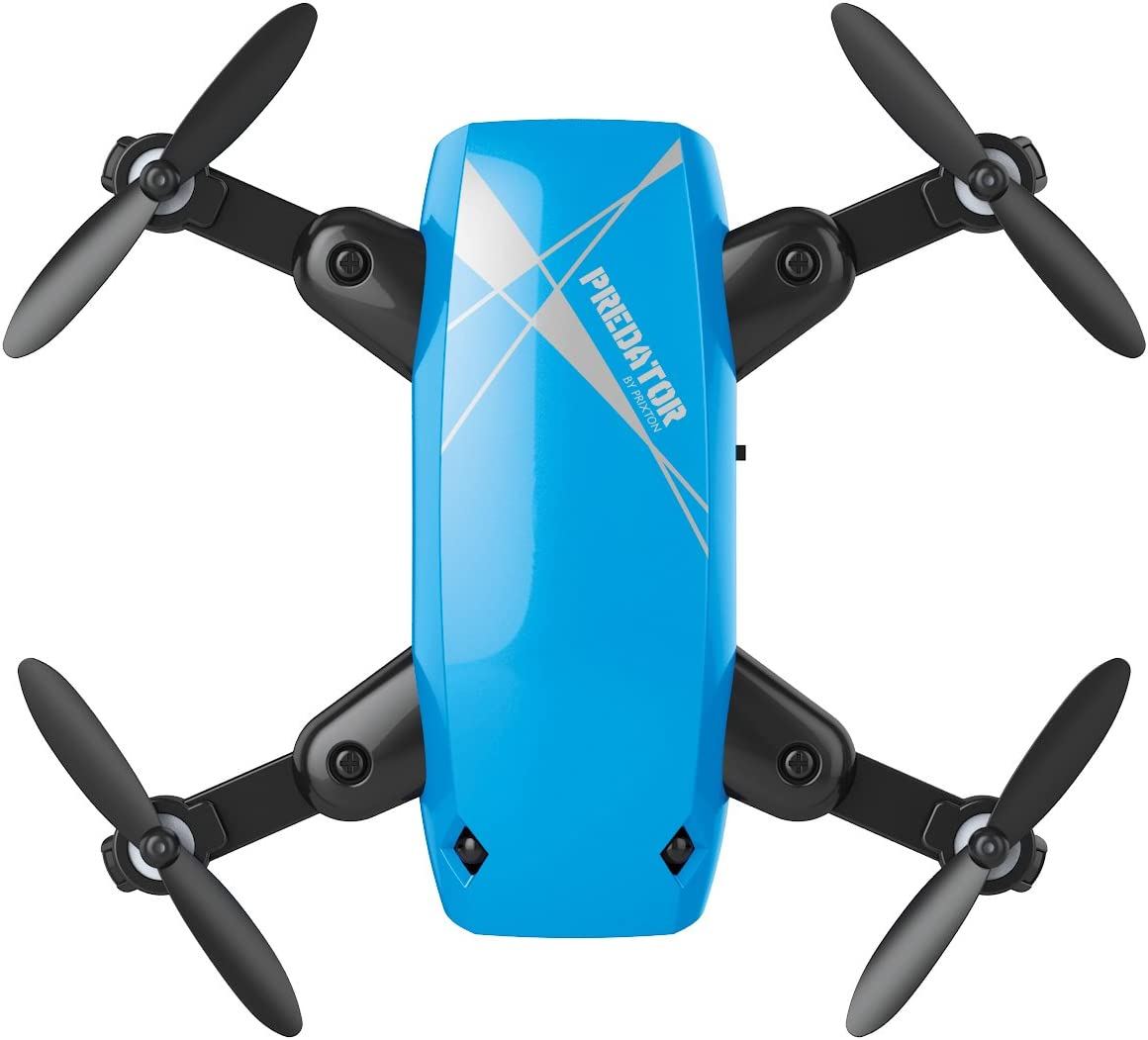 PRIXTON- Drone DR200 Selfie Predator, Cámara Wi-Fi, Color Azul (DR200PREDATORSELFIE)
