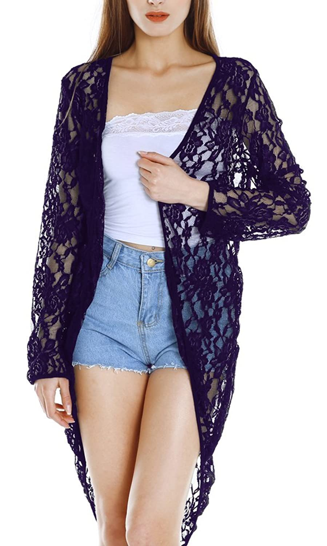 HOTOUCH Women Sheer Lace Crochet Maxi Cardigan Long Sleeve Beach ...