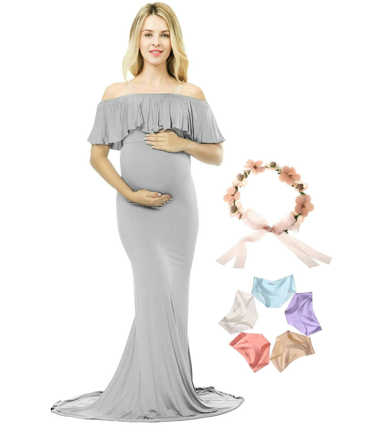 Sannyway Photoshoot Maternity Dress Ruffle Off Shoulder Photography Maxi Gown (Grey, L)