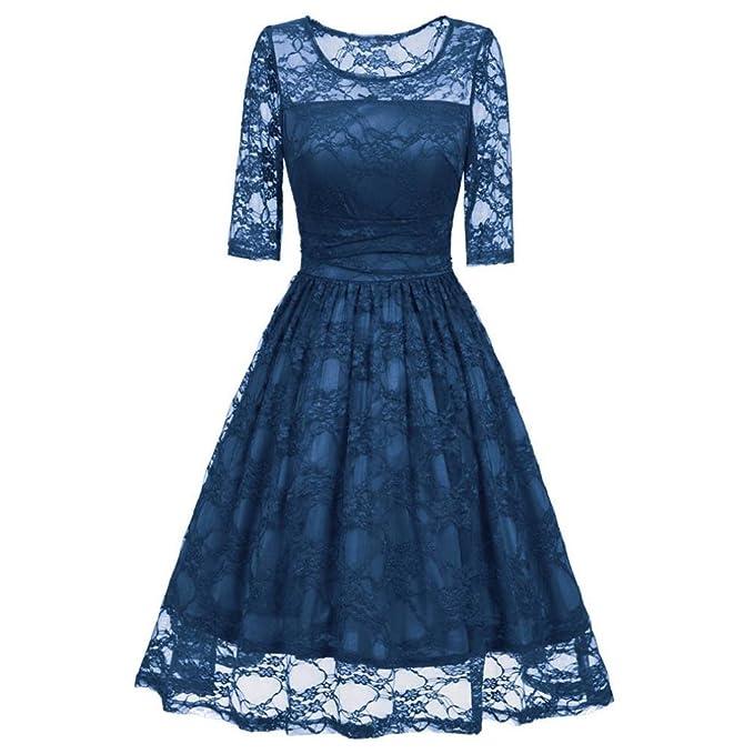 vestidos mujer fiesta cortos para bodas, Sannysis Vestido de cóctel de encaje vintage casual de media manga vestidos navidad mujer fadals swing dress ropa ...