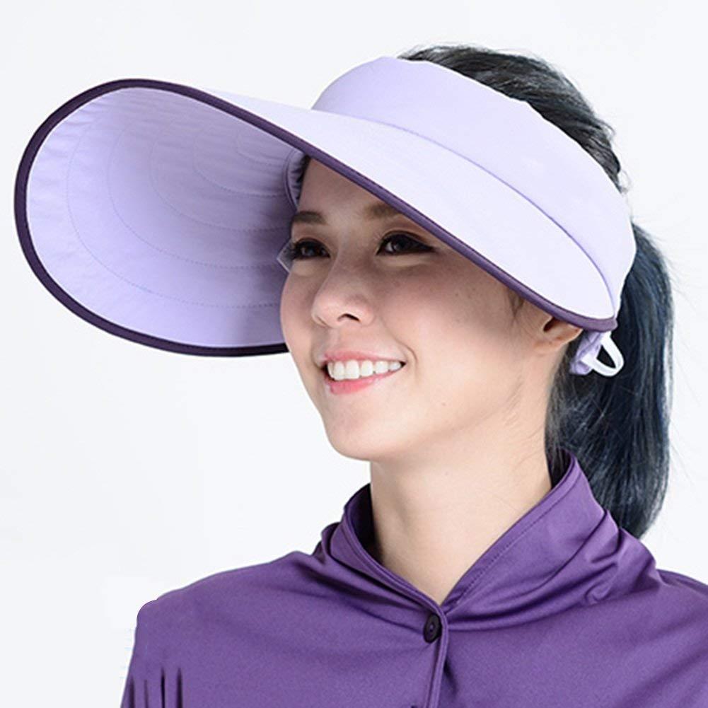 lumière violet  WYJW Casquette d'été à grands Bords d'été Chapeau Vide Haut réglable en extérieur 6 Couleurs en Option Chapeau de Soleil (Couleur  Bleu)