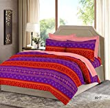 Bombay Dyeing Impression Cotton Double Bedsheet with 2 Pillow Covers - Violet
