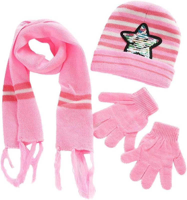 Christmas Caps Scarf Gloves Suit for Kids Knit Beanie Hat Stripe Colorblock Cap Scarf Winter Warm Set