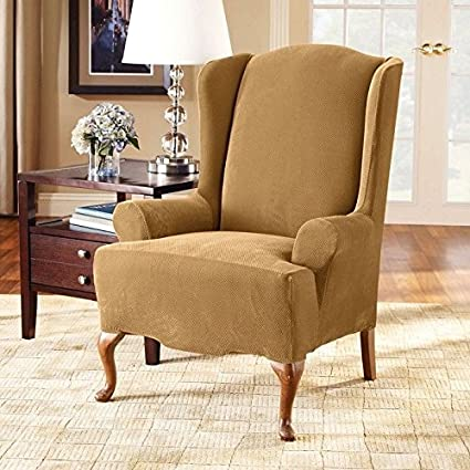 Sure Fit Stretch Pique Knit   Wing Chair Slipcover   Antique (SF34441)