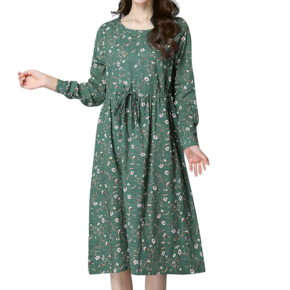 Womens Dress DEATU Clearance Ladies Fashion Long Sleeve Small floral Print Cotton Linen Loose Long Dress(Green,XXL)