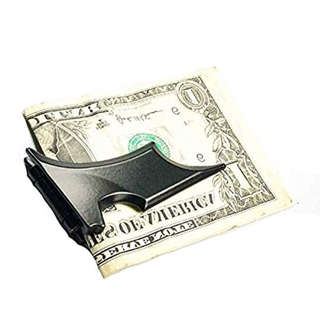 SM SunniMix Slim Bat Shape Mens Fashion Money Clip Purse Wallet Card Cash Holder Clip as described