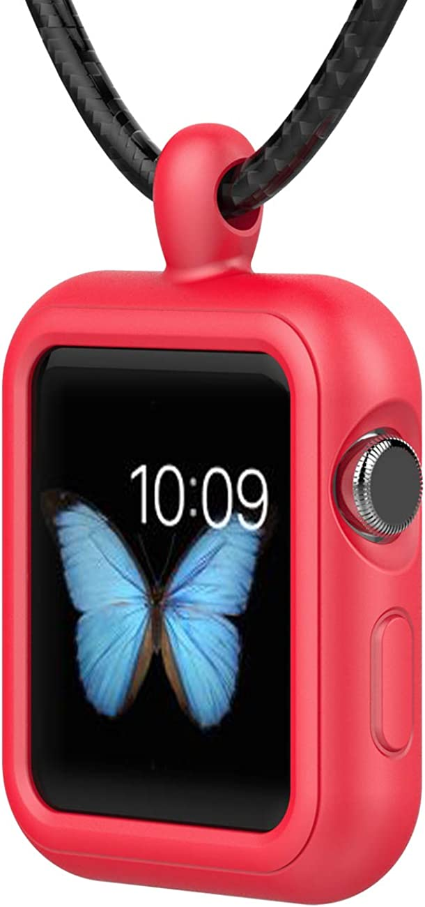 GOGOSODU Compatible Watch Case Silicone Cover Shockproof Necklace Pendant Replacement for Apple Watch 38mm 40mm iWatch Series 6 5 4 3 2, Red