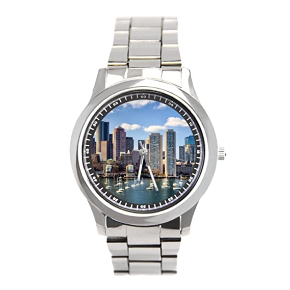 blue5 relojes acero inoxidable Boston Skyline from Waterfront reloj muñeca