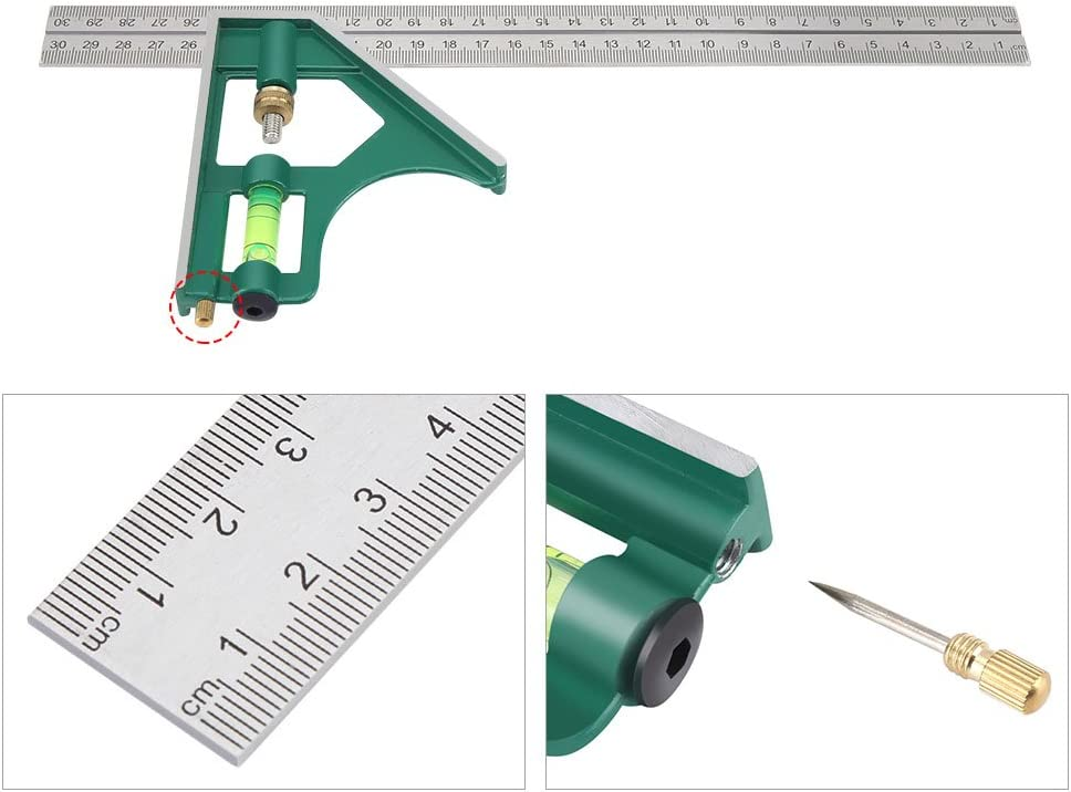 300mm Combination Square Multi-Functional 45//90 Degree Angle Combination Square Ruler Stainless Steel Forging Ruler Measuring Tools Marking Out Laying Out Not Rust//Deform