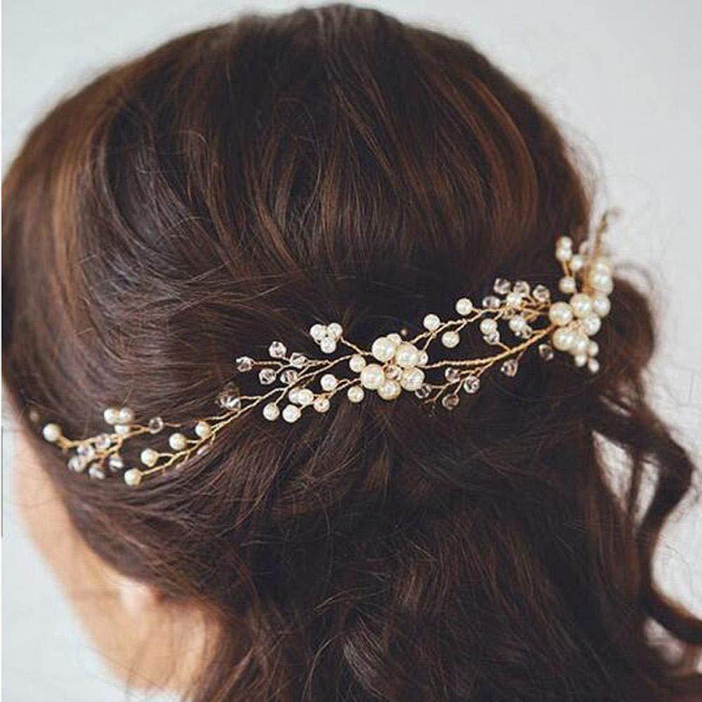 DHmart 1Pc Wedding Bridal Pearl Hairpin Handmade Headband Prom Women's Headpiece Barrettes Jewelry Hair Pins Clips Hair Accessories