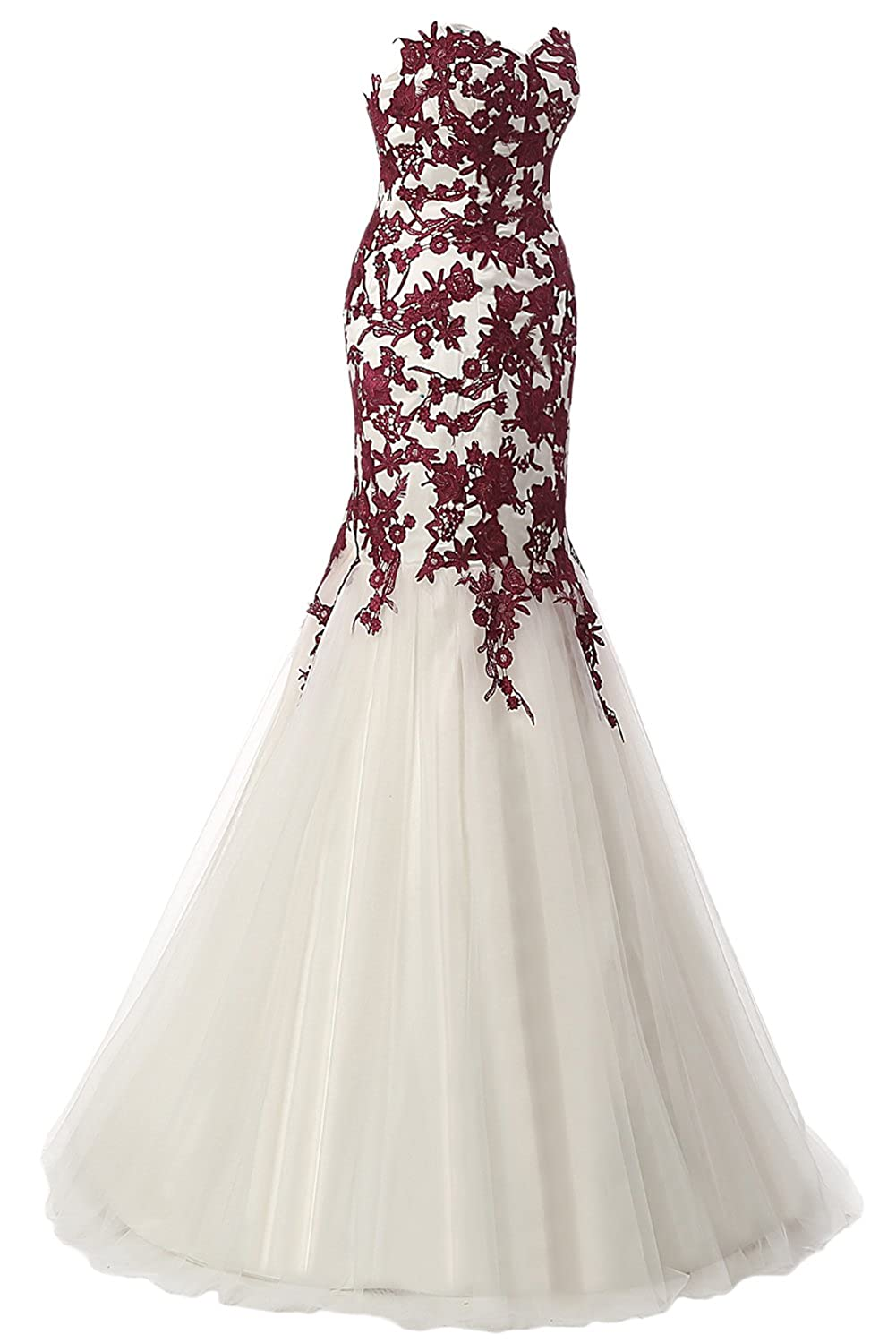 Sunvary Designer Evening Prom Dresses Mermaid Strapless Applique Tulle Gown at Amazon Womens Clothing store: