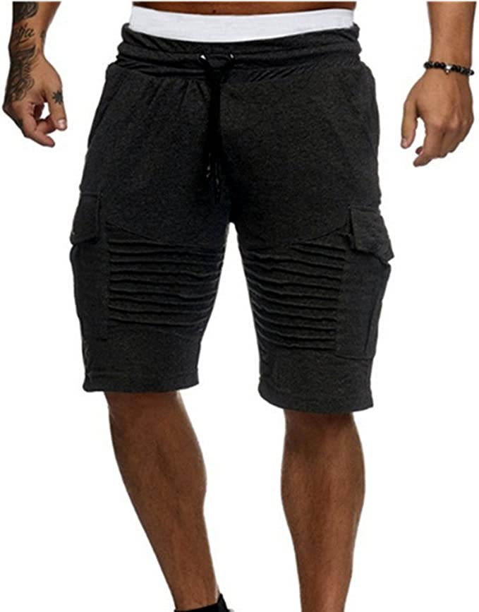 MODOQO Workout Shorts for Men,Casual Loose Fit Elastic Waist Jogger Shorts with Multi-Pocket