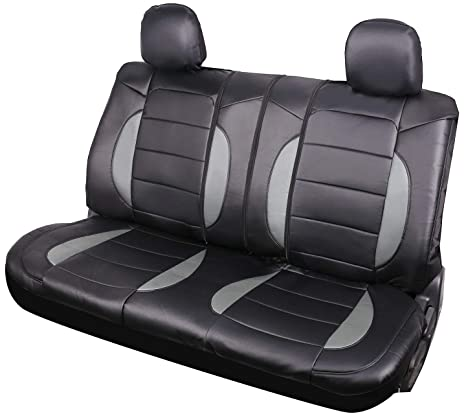 Phenomenal Leader Accessories Mustang Platimun Faux Leather Black Grey Universal Rear Split Bench Seat Cover 40 60 50 50 For Cars Truck Suv With Headrest Cover Caraccident5 Cool Chair Designs And Ideas Caraccident5Info