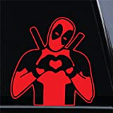"""Deadpool Heart Sign Inspired II Vinyl Die-Cut Decal Sticker for Car, Truck, Notebook, Laptop, Computer or Window (5.5""""x5.2"""", Red)"""