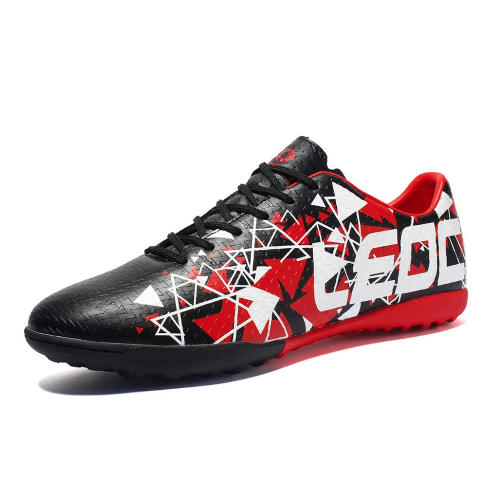 LEODI Men Soccer Cleats Boots Turf Football Shoes Teenager Boy Hard Court Outdoor Sports Sneakers Adult Training TF Soccer Boot,4.5,Black