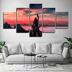 TYG Canvas Wall Art, Wall Painting Horizon Zero Dawn Game Prints on Canvas Modern Giclee Artwork Decor Picture for Bedroom/Office/Living Room Stretched and Framed Ready to Hang 5PCS