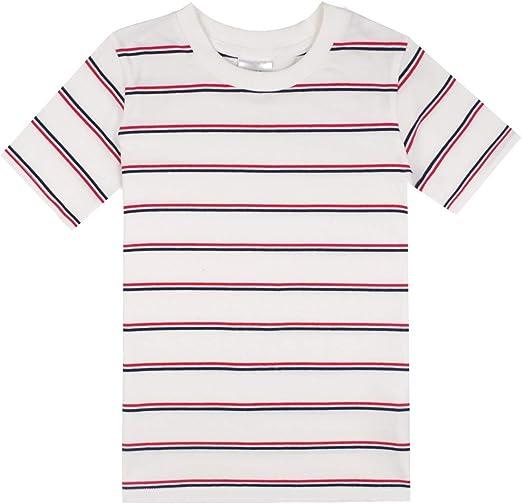 Spring&Gege – Camiseta de manga corta con rayas de cuello redondo ...