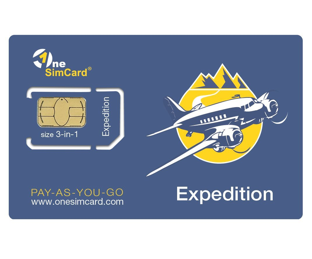 OneSimCard Expedition International 3-in-one SIM Card for use in 200+ Countries with $5 credit - Data from $0.02 per MB. Compatible with All Unlocked GSM Device & Phones by OneSimCard Expedition