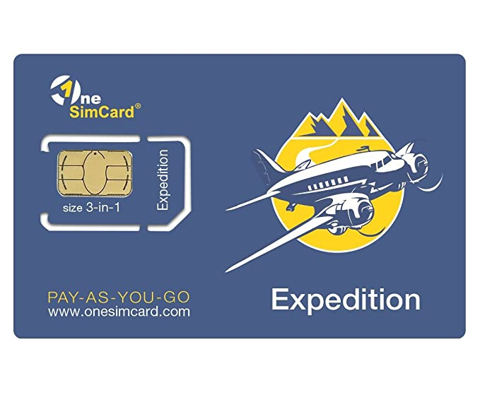 OneSimCard Expedition International 3-in-one SIM Card for use in 200+ Countries with $5 credit – Data from $0.02 per MB. Compatible with All Unlocked ...