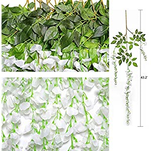 flowers for arch wedding Artificial Fake Wisteria Vine Hanging 12 Pack 3.6FT/pcs, Silk Flower Chain Garland for Outdoor Wedding Ceremony Arch Party Home Garden Decor 16