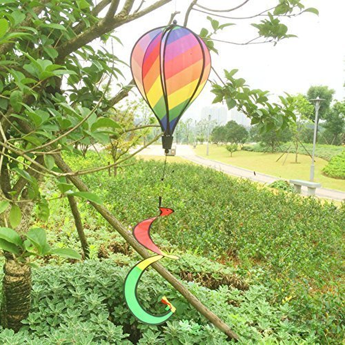 - MEXUD-Striped Rainbow Windsock Hot Air Balloon Wind Spinner Multi-Colored Garden Decor by MEXUD