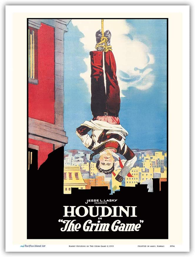 Houdini in The Grim Game - Vintage Film Movie Poster c.1919 - Master Art Print 9in x 12in