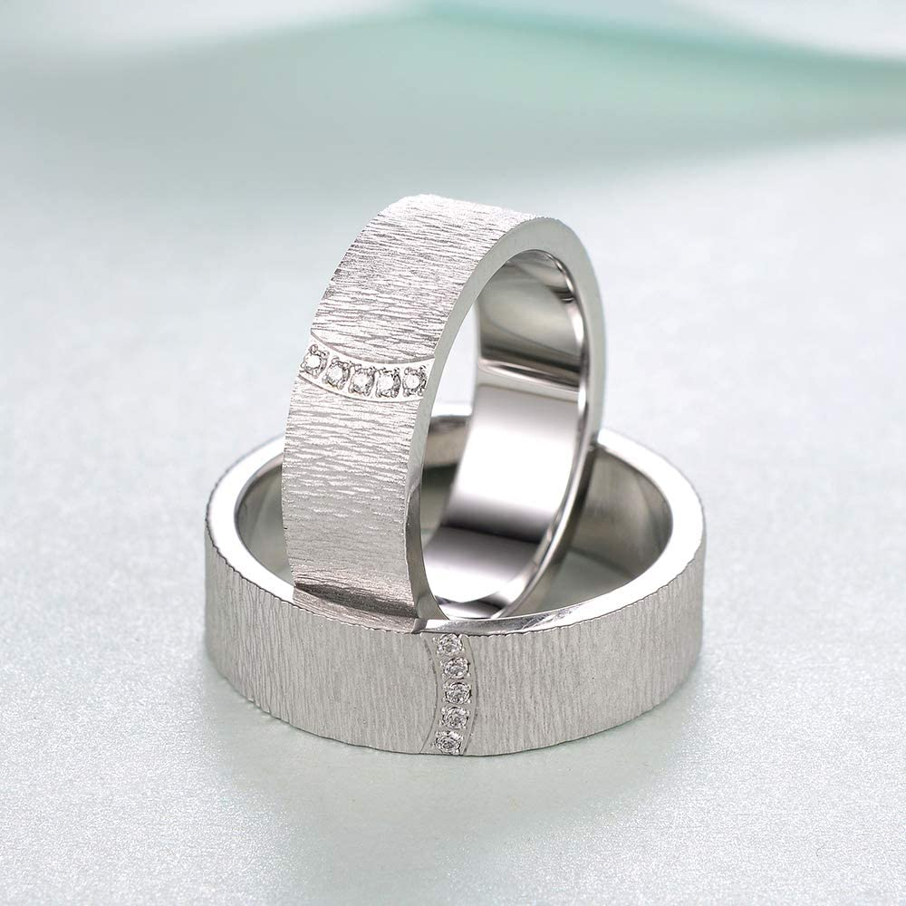MDEAN Wedding Rings for Couple Bark Brushed Bands AAA Zircon Engagement Jewelry foe Men Size 6-9