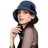 Fancet Sombrero de lana para mujer de invierno de los años 20, estilo vintage Cloche de moda Derby Church Sombreros para…