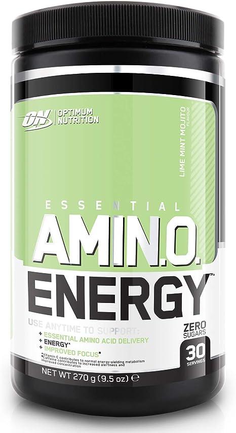 Image of Optimum Nutrition ON Amino Energy Pre Workout Powder Keto Friendly con Beta Alanina, Cafeína, Vitamina C, Aminoacidos Micronizados Incluyendo BCAA, Lime Mint Mojito, 30 Porciones, 270 gr