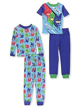 PJ Masks Boys Little Bedtime Heroes 4-Piece Cotton Pajama Set, Sleepy Blue