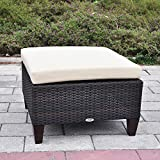 Outdoor Patio Wicker Ottoman Seat with Cushion, All Weather Resistant Foot Rest Stool Coffee Table, Easy to Assemble