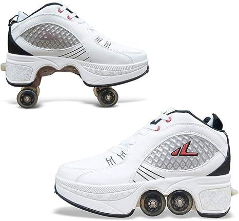 HealHeatersⓇ Patines Infantiles De 4 Ruedas En Paralelo Cómodos Y Fáciles De Poner Zapatos Multiusos 2 En 1 Casual Zapatos Zapatillas Patines Quad para Niños Y Niñas Principiantes: Amazon.es: Deportes y aire libre