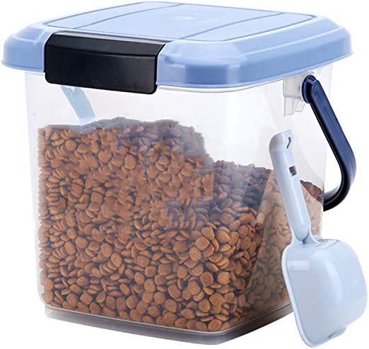 ZWW Contenedor Hermético De Almacenamiento De Alimentos para Mascotas, Conjunto De Caja De Cubo De Plástico Transparente con Pala para Piensos para Gatos/Pájaros Salvajes 3L: Amazon.es: Hogar