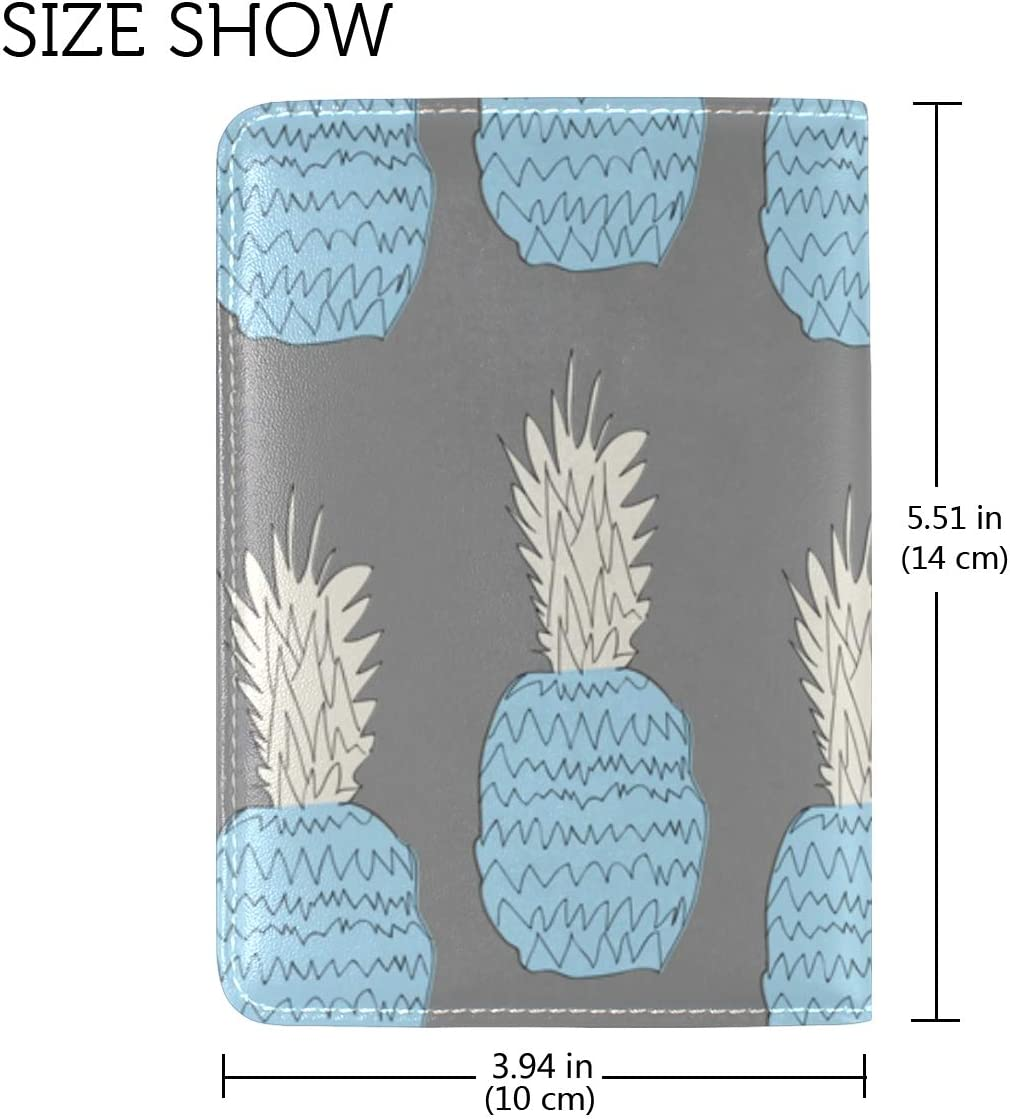 LEISISI Cartoon Blue Pineapple Genuine Real Leather Passport Holder Cover Travel Case