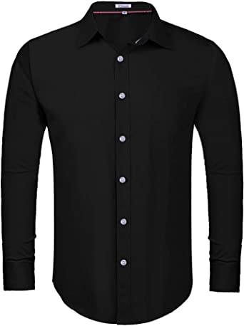 iClosam Camisa Hombre Slim Fit Manga Larga Transpirable Outwear Tops Sueltos Camiseta Deportiva para Hombres