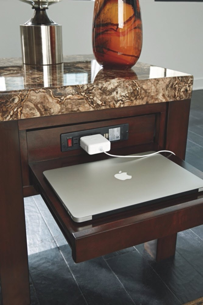 Ashley Furniture Signature Design - Kraleene End Table - Pull Out Tray with USB Ports - Contemporary - Dark Brown by Signature Design by Ashley (Image #4)